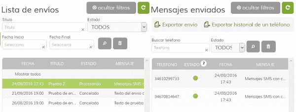 Histórico de Envíos de SMS