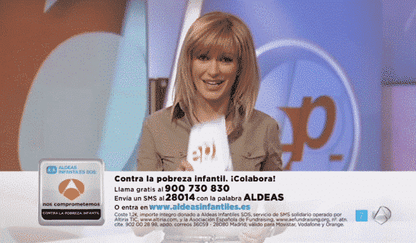SMS solidario 28014 de Altiria con Aldeas Infantiles y Antena 3