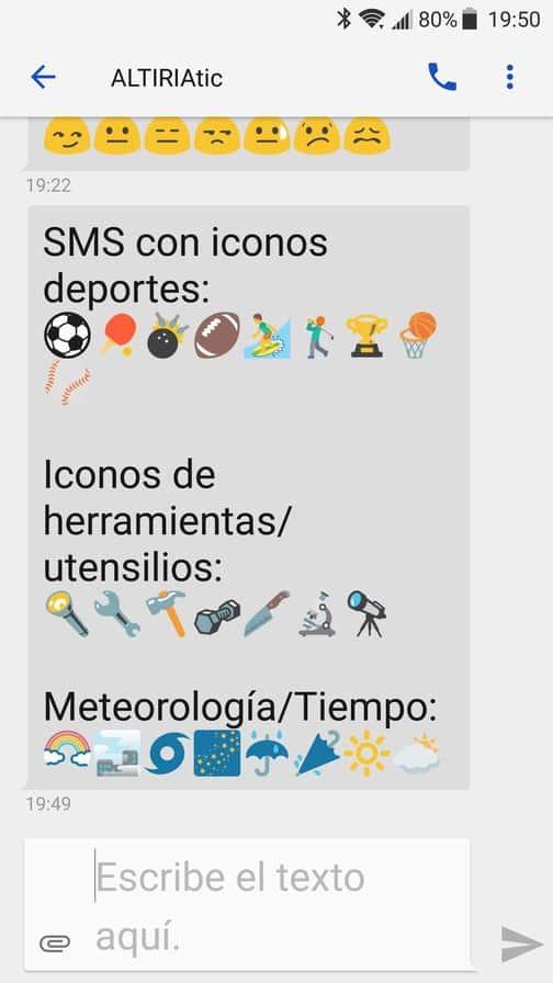 Enviar SMS con emoticonos: ejemplo de SMS recibido con iconos+texto