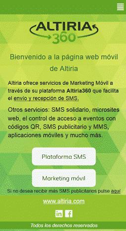 creación de landing web móvil